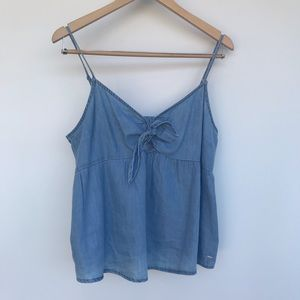 GUESS Denim Bow/Tied Detail Tank Top
